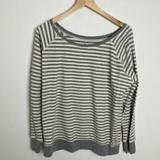 Pact Apparel Gray Striped Organic Cotton Sweatshirt Sweater Pullover Top Size L