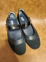 Drew Shoes Womens  11 WW Genoa Black Suede Leather Mary Jane Comfort Orthotic