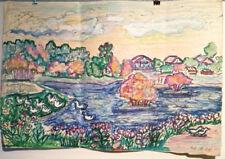 LAKE DUCKS FLOWERS HOUSES Primitive Art by Russian artist Tanya Tabashnikova