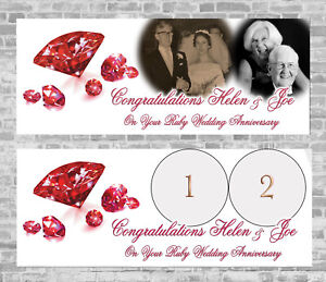 Ruby Wedding Anniversary Personalised Party Banner Decoration 40th 40 years