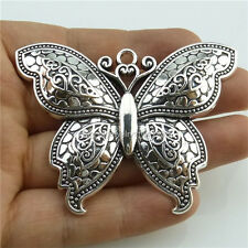 13974*2PCS Alloy Large Butterfly Insect Pendant Charms Antique Silver Tone