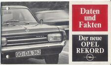 Opel Rekord C Saloon Coupe CarAVan 1966-67 Original German Data & Facts Brochure