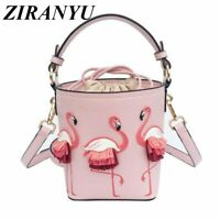 New Women's Flamingo Purse Crossbody Bucket Bag Beach Tote Handbag 3 Colors