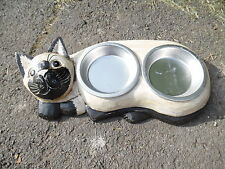 Ornate hand painted Cat Bowl With Removable Stainless Steel Bowls