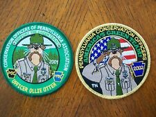 TWO PA PENNSYLVANIA GAME FISH  COMMISSION  PATCH  2001 & 2002 OFFICER OTTER