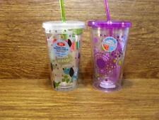 TWO PRINTED  DOUBLE WALL GLASSES - TUMBLERS