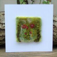 Handmade Needle Felt Blank Greetings Card or To Frame Red Echinacea Flowers