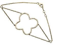 14k Yellow Gold Open Four leaf Clover One Row Diamond Fashion Bracelet 0.55ct