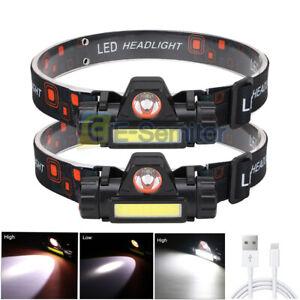 2x Waterproof Headlight Super Bright Head Torch LED USB Headlamp Camping Fishing