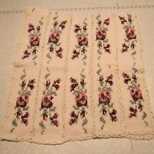 Vintage handmade Knit Throw Blanket Granny Rose Floral Shabby Cottage 26 x 56