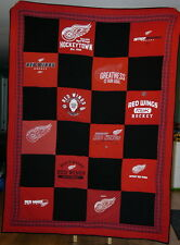 Detroit Red Wings Twin size Upcycled T-shirt Quilt NHL Hockey, Homemade