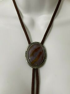 Vintage Bolo Tie Medallion Early 1900's Sterling Silver w/ Agate Stone Handmade