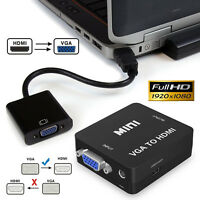 HDMI Male To VGA Female Converter Adapter 1080P Stereo Audio Output, Black