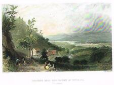 Bartlett Hand Colored Engraving - c1840 - DESCENT INTO THE VALLEY OF WYOMING