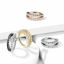 Double Lined  CZ Hoop Nose Helix Daith Tragus Conch Cartilage Earrings Rings