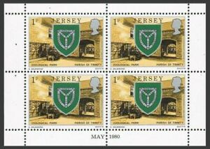 Jersey 138b,140a,142a panes,MNH. Arms of Trinity,Zoo Park,Tower,Church.UPU.1979.