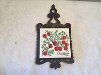 "Vintage Enesco Cast Iron Trivet Tile Coaster ""Cranberry""  Made In Japan"
