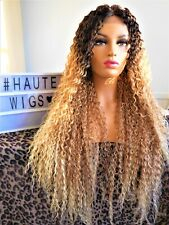 "38"" SUPER LONG BLONDE BROWN OMBRE BLACK CURLY WIG Lace Front PERM HUMAN HAIR"