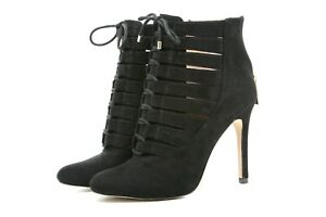 BCBGeneration Womens Booties Size 7 Belini Black Cage Zipper Lace Up Boots 37