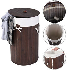 Round Bamboo Hamper Laundry Basket Washing Cloth Organizer Storage Bag Lid Brown