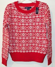 NWT Gap Kids Red/White Fair Isle Pullover Sweater Girl's Size XS, 4-5 year
