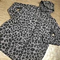 V-56~ Cuddl Duds Comfortwear Snap Front Hooded Cardigan GREY ANIMAL size L