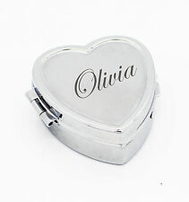 Vincenza Personalised Ladies Silver Plated Mini Heart Pill Box Engraved Free