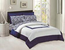 Comforter & Sheets set 8 pcs Soft Microfiber Navy Blue and White King Size