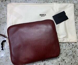 "New! $295 Shinola Burgundy 11"" Horween Leather Portfolio Signature. Made In USA"