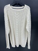 Weatherproof Vintage Mens Size L Large Crew Neck Cable Knit Long Sleeve Sweater