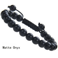 Handmade 8mm natural Matte Onyx gemstone beads adjustable bracelet for unisex