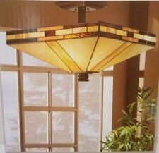 Dale Tiffany Mission 2 Light Antique Art Style Bronze Semi-Flush Mount Light New