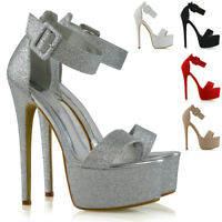 Womens Ankle Strap Open Toe Ladies Stiletto High Heel Platform Party Shoes Size