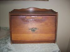 Vintage / Antique Solid Wood Breadbox with Brass Eagle.