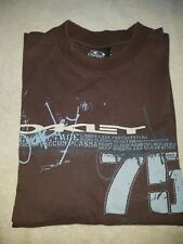 Genuine Men's OKLEY Brown Vintage Crew Neck Custom Fit T-Shirt Small Size