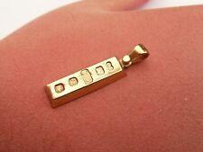 Excelente sólido 9CT oro grueso Lingote Barra Gota Colgante 4.2 gramos