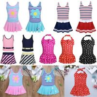 Kids Girls Striped Polka Dots Tankini Dress Beach Swimsuit Tutu Skirt Swimwear