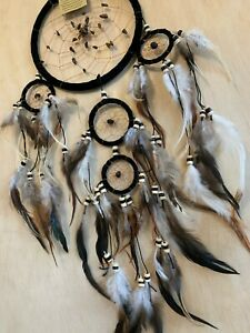 Dream Catcher 73 cm Overall Drop Soft Leather 16cm Web Stones Natural Feathers