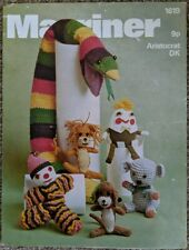 Marriner vintage knitting & crochet pattern 1619 snake lion Humpty koala clown