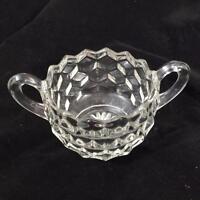 "Fostoria American Clear Glass Early American Open Sugar Bowl 2 Handles 3-1/4"""