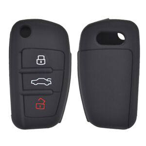 Car Silicone Key Fob Cover For Audi A1 S1 A4 A6 RS6 TT Q7 A3 S3  Case Flip Black