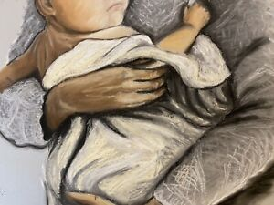 Mother and Baby Painting Original Art Mother and Children Pastels Painting