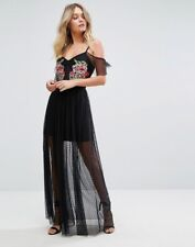 NEW New Look Premium Dot Mesh Embroidered Maxi Dress, Black, Size 8, RRP £45