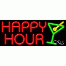 """New """"Happy Hour"""" 32x13 W/Logo Neon Sign w/Custom Options 11420"""