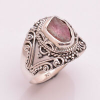 925 Sterling Silver Ring US Size 7, Natural Tourmaline Jewelry RSR902