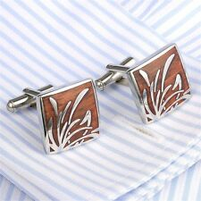 Classical Square Wood Crystal Cuff Links Stainless Steel Mens Dress Cufflinks