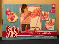 Baby Alive Doll 3-in-1 Play Set Swing, High Chair & Car Seat Combo (Pink) NEW