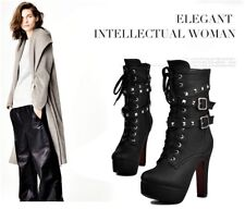 Sexy High Heels Platform Motorcycle Buckle Lace Up Ankle Boots-4 Colors
