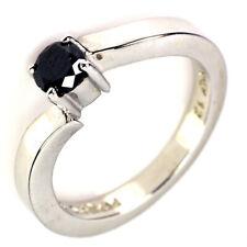 0.41Ct Jet Black Natural Diamond 925 Silver Ring Size 5.0
