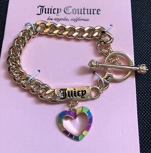 Juicy Couture Gold Tone Charm Bracelet With Logo & Enamel Rainbow Heart NWT